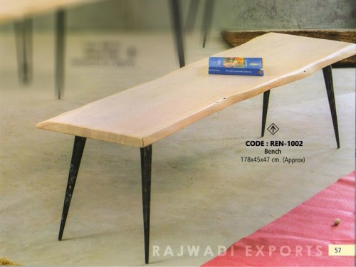 Live Edge Bench Made of Acacia Wood and Metal Legs