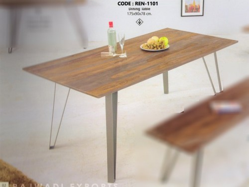 Dining Table Made of Acacia Wood Metal Legs