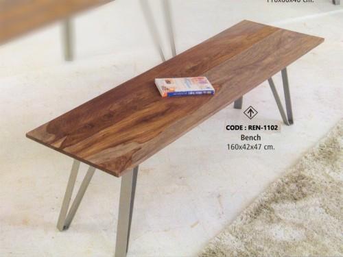 Bench Made of Acacia Wood Metal Legs