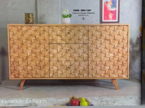 2 Door 3 Drawer Sideboard Made of Mango Wood