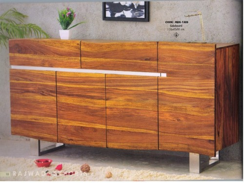 Live Edge Sideboard Made of Acacia Wood and Metal