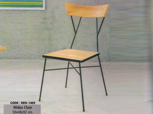 Chair Made of Mango Wood and Metal Legs