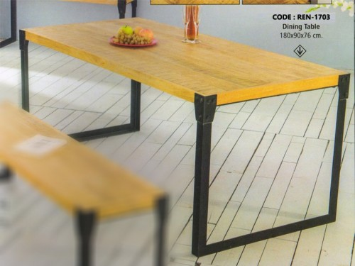 Dining Table Made of Mango Wood With Metal