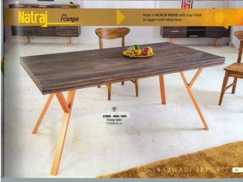 Dining Table Made of Acacia Wood and Metal Legs