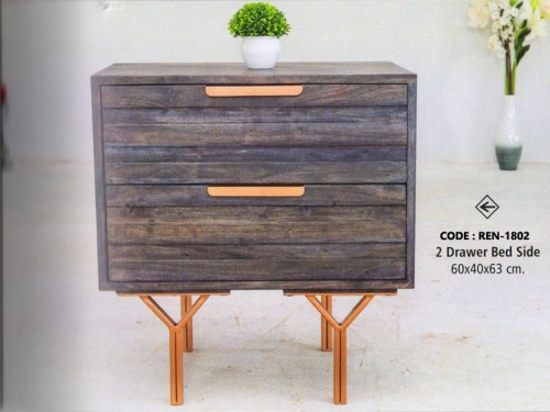 2 Drawer Bedside Made of Acacia Wood and Metal Legs