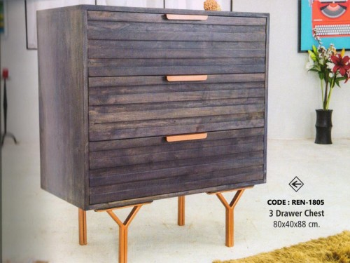 3 Drawer Chest Made of Acacia Wood and Metal Legs
