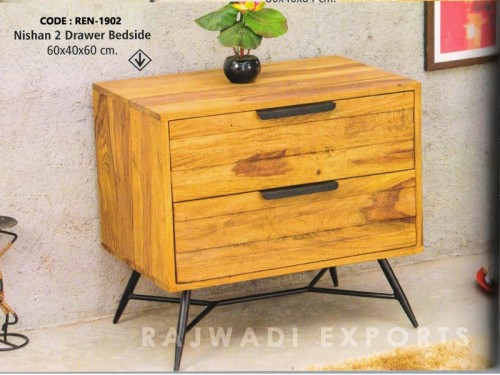 2 Drawer Bedside Made of Sheesham Wood and Metal