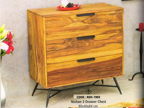 3 Drawer Chest Made of Sheesham Wood and Metal