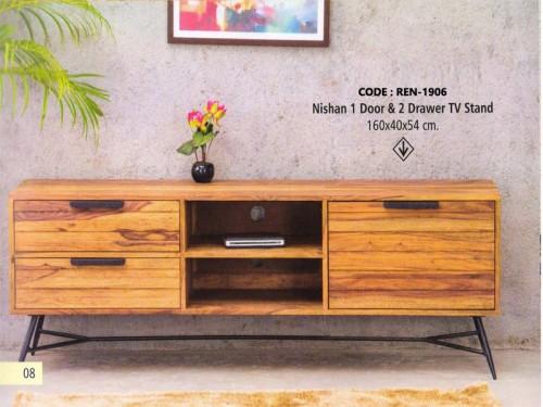 1 Door 2 Drawer TV Stand Made of Sheesham Wood and Metal