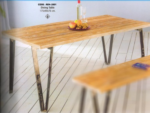 Dining Table Made of Acacia Wood and Metal