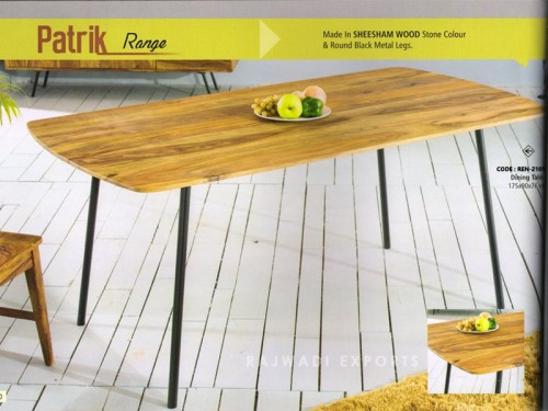 Dining Table Made of Sheesham Wood and Metal