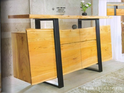Live Edge Sideboard Made of Acacia Wood and Metal Legs