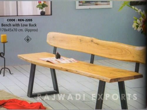 Live Edge Bench With Low Back Made of Acacia Wood and Metal Legs