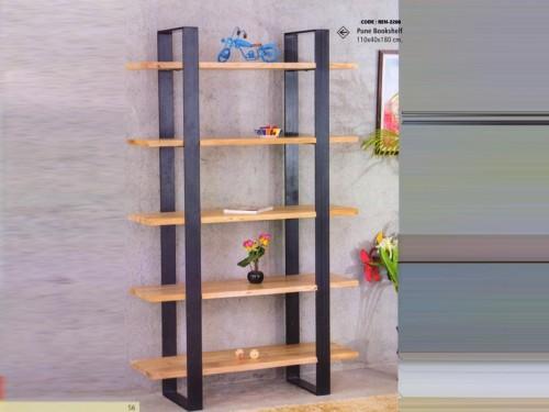 Live Edge Bookshelf Made of Acacia Wood and Metal Legs