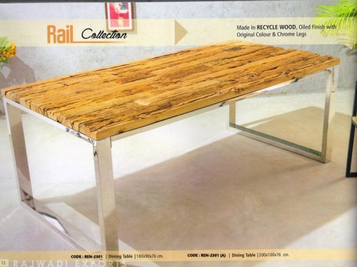 Dining Table Made of  Wood and Chrome Finish Metal Legs