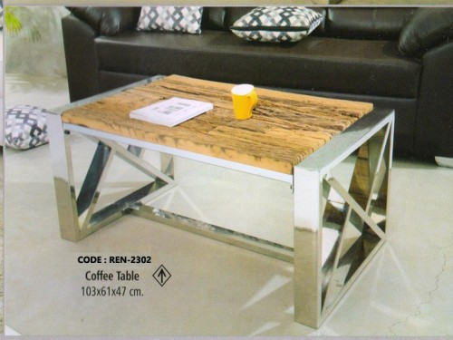 Coffee Table Made of Wood and Chrome Finish Metal Legs