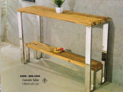 Console Table Made of  Wood and Chrome Finish Metal Legs
