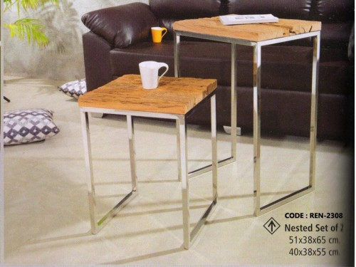 Nesting Table Made Of Wood and Chrome Finish Metal Legs