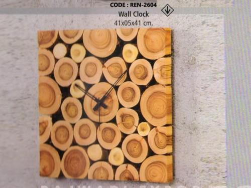 Analog Wall Clock Made of Pine Wood and Metal