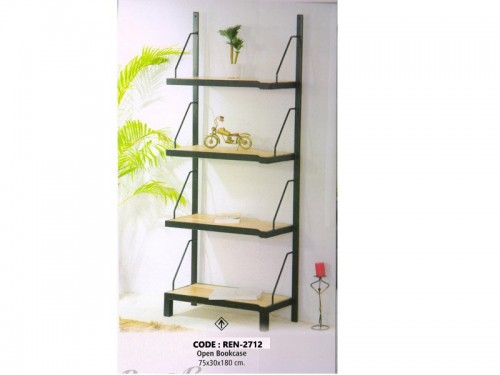 4 Shelf Open Book Rack Made of Mango Wood and Metal