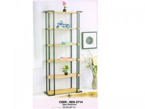 6 Shelf Open Bookrack Made of Acacia Wood and Metal