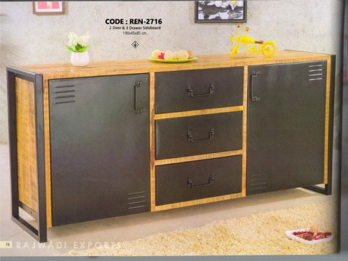 2 Door and 3 Drawer Made of Acacia Wood and Metal