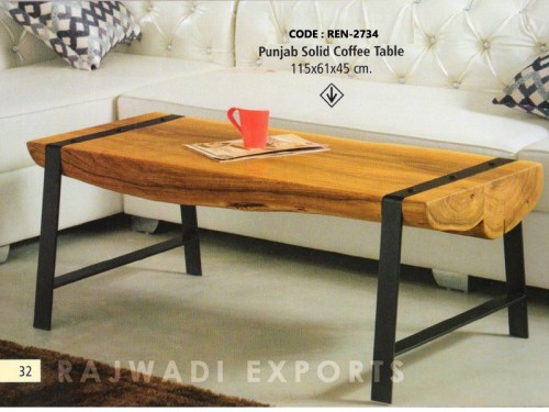 Coffee Table Made of Acacia Wood and Metal