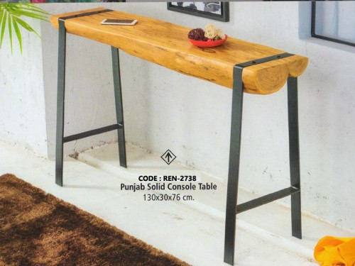 Live Edge Console Table Made of Acacia Wood and Metal