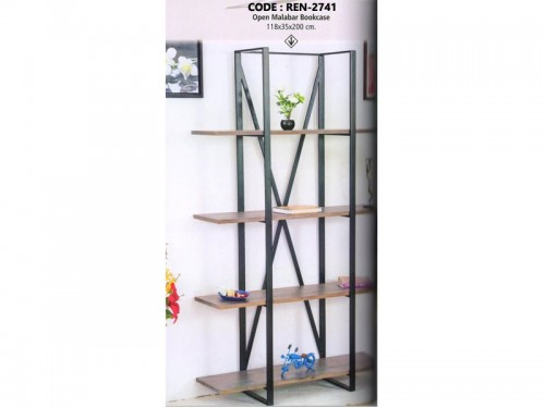 Open Book Rack Made of Acacia Wood and Metal