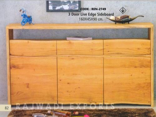 3 Door Live Edge Sideboard Acacia Wood