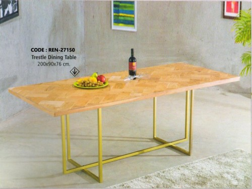 Dining Table Made of Mango Wood and Brass Finish Metal