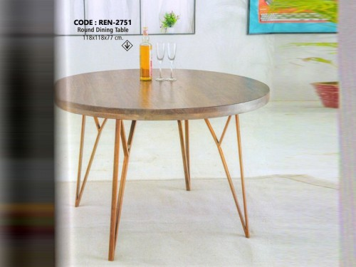 Round Dining Table Made of Mango Wood and Brass Metal