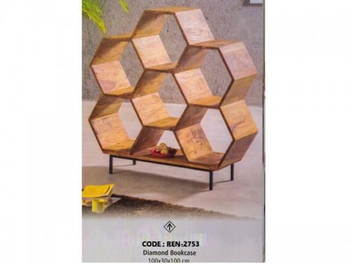 Diamond Book Case Made of Mango Wood and Metal