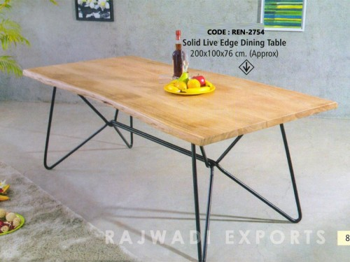 Live Edge Dining Table Made of Acacia Wood and Metal