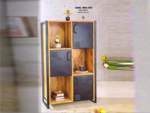 High Board Made of Mango Wood and Metal