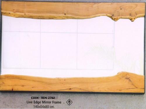 Live Edge Miror Made of Acacia Wood and Glass
