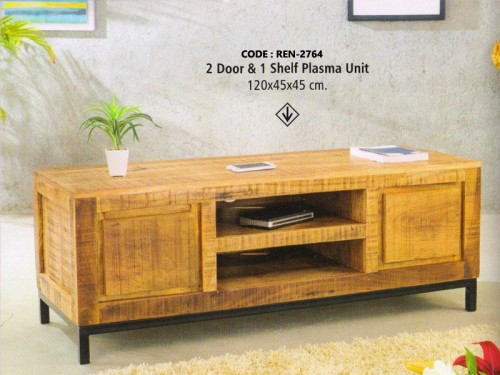 2 Door and 1 Drawer Plasma Unit Made of Mango Wood and Metal