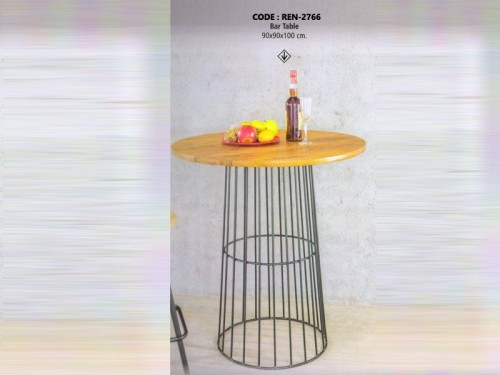 Round Bar Table Made of Mango Wood and Metal