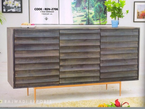 3 Door Sideboard Made of Acacia Wood and Brass Finish Metal Legs
