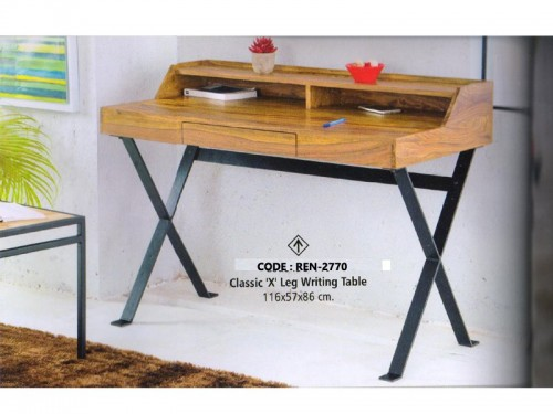 Writing Table Made of Mango Wood and Metal
