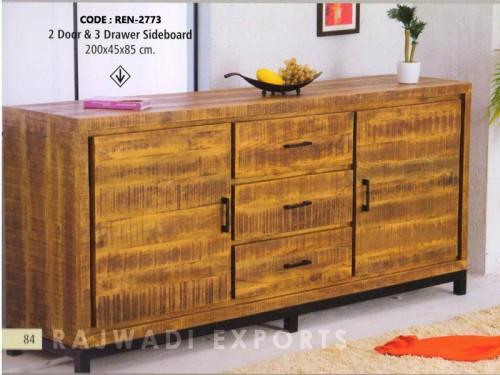 2 Door 3 Drawer Sideboard Made of Mango Wood and Metal
