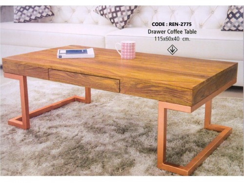 1 Drawer Coffee Table Made of Mango Wood and Metal