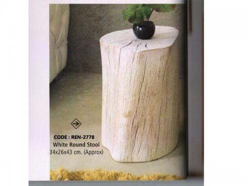 Live Edge Round Stool Made of Acacia Wood
