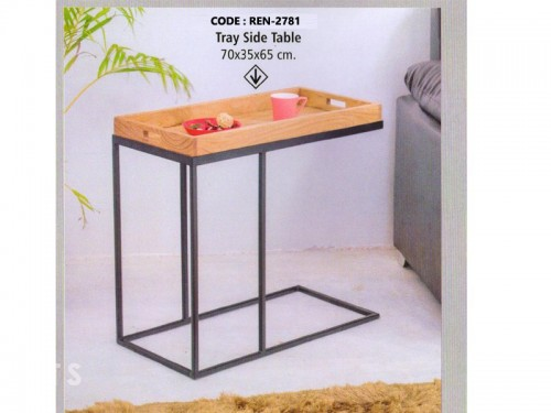 Tray Side Table Made of Mango Wood and Metal