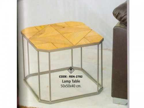 Palleted Lamp Table Made of Mango Wood and Metal