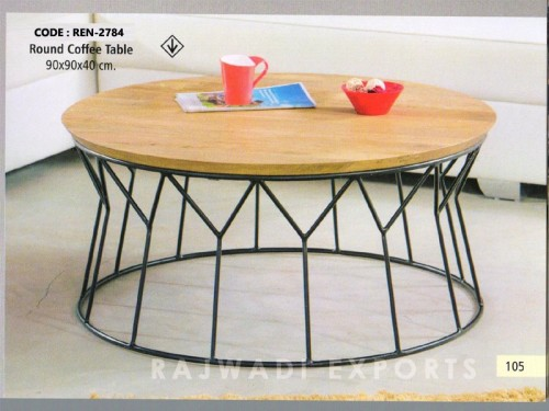 Round Coffee Table Made of Mango Wood and Metal