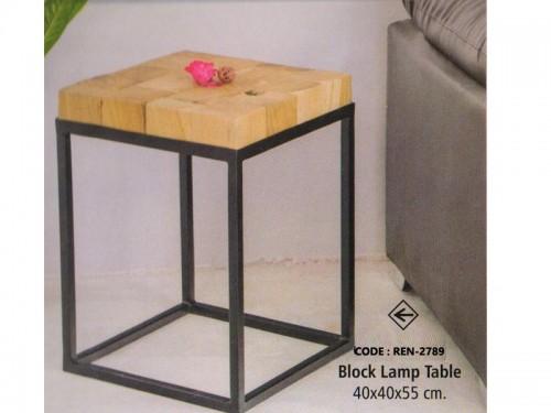 Block Lamp Table Made of Acacia Wood and Metal