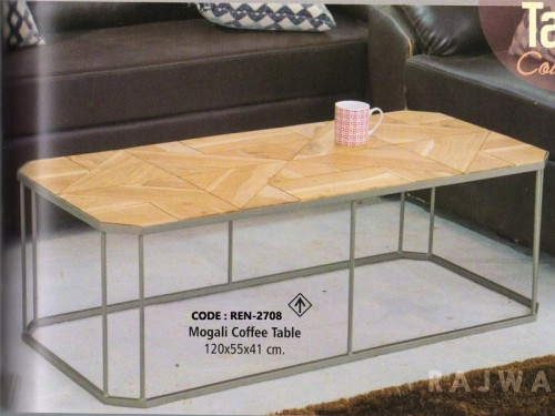 Palleted Design Coffee Table Made of Acacia Wood and Metal