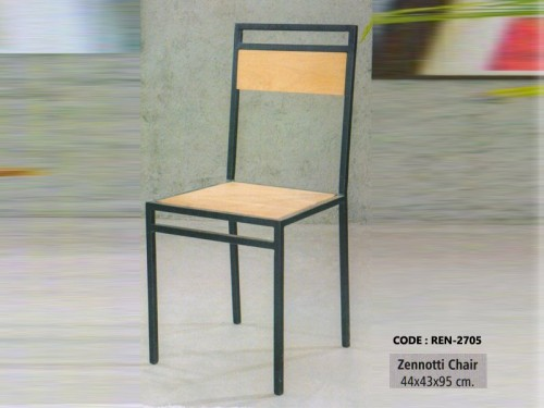 Chair Made of Acacia Wood and Metal