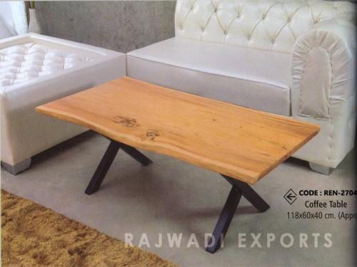 Live Edge Coffee Table Made of Acacia Wood and Metal